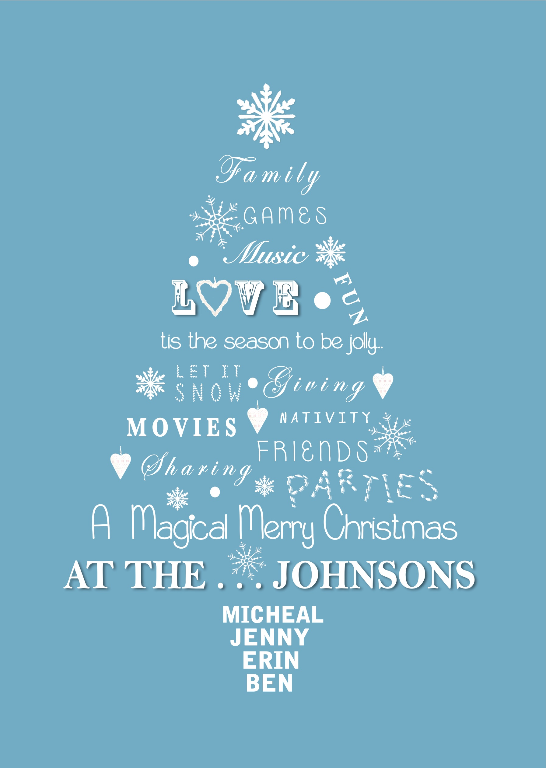 personalised family christmas tree print little letters with love