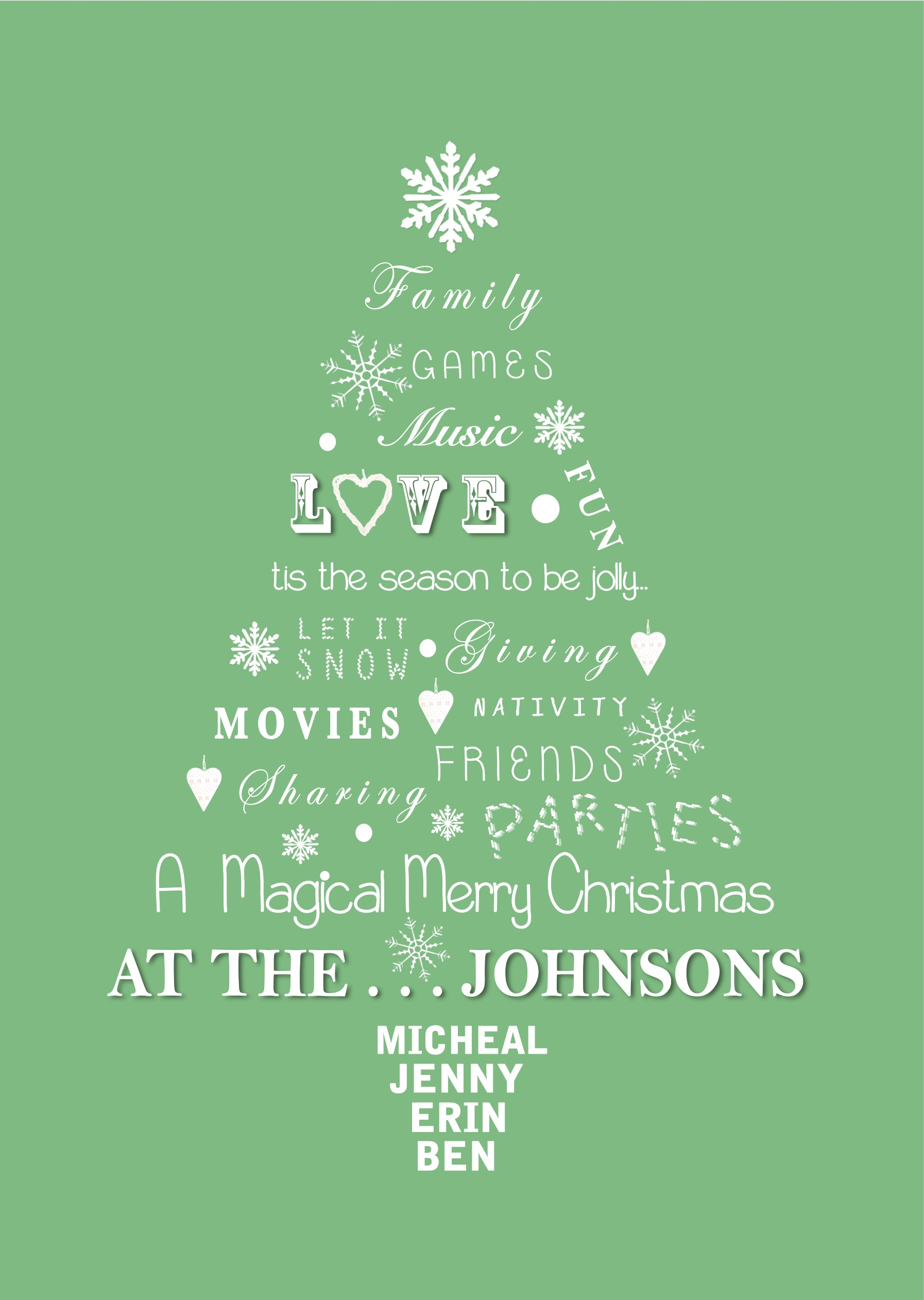 Personalised Family Christmas Tree Print Little Letters