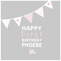 PINK BUNTING CARD