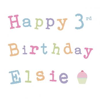 age & name girls birthday card