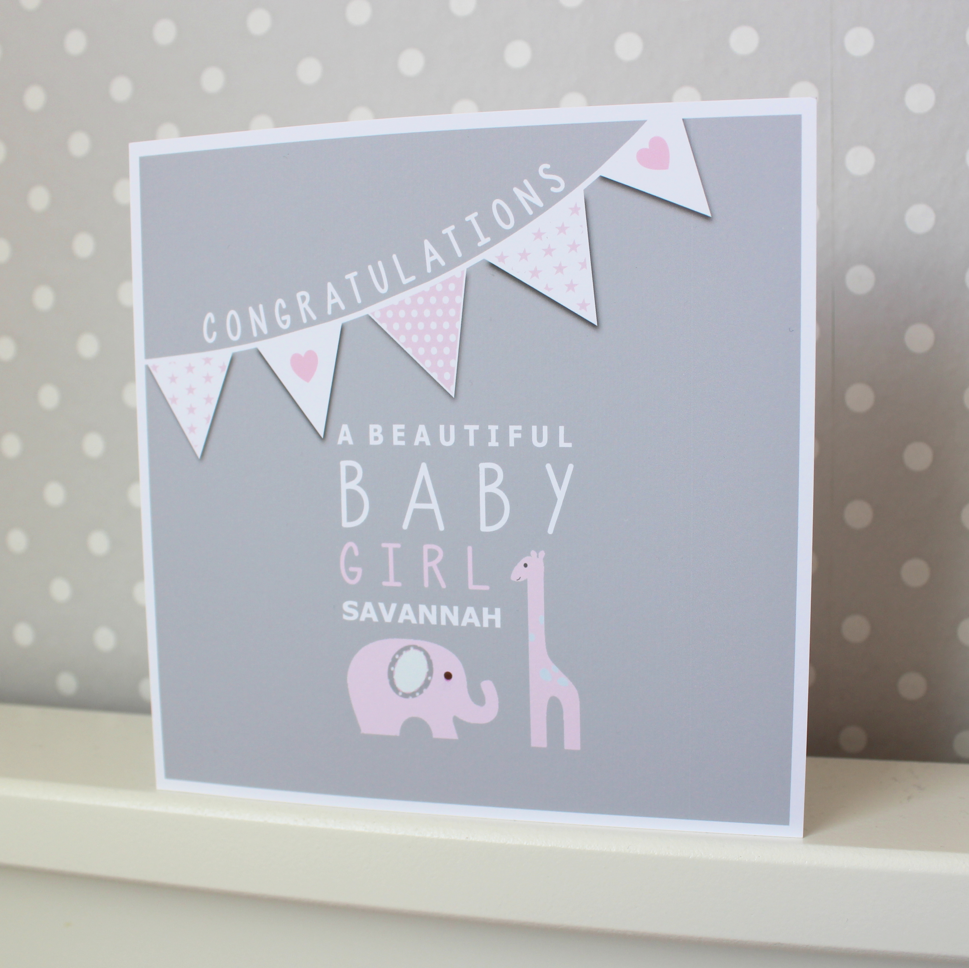New Baby Girl Personalised Congratulations Card