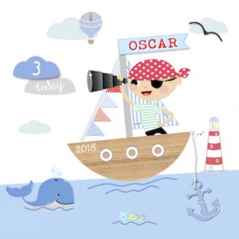 Age & Name Ocean Theme Card