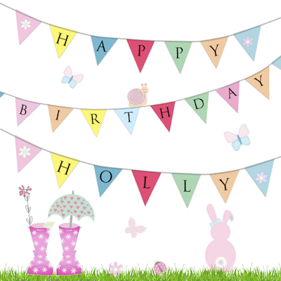 Bunting Garden Birthday Card Little Letters With Love
